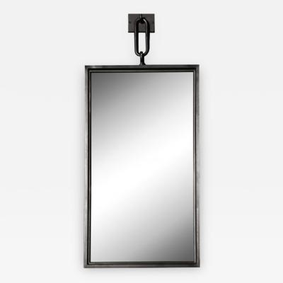 John McDevitt A Patinated Steel Rectangular Pendant Mirror Smaller Size