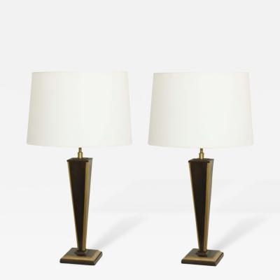 John McDevitt Pair of Contemporary Steel Tapered Lamps with Square Base Taller Size