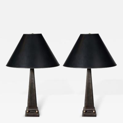 John McDevitt Pair of Pyramid Form Steel Table Lamps