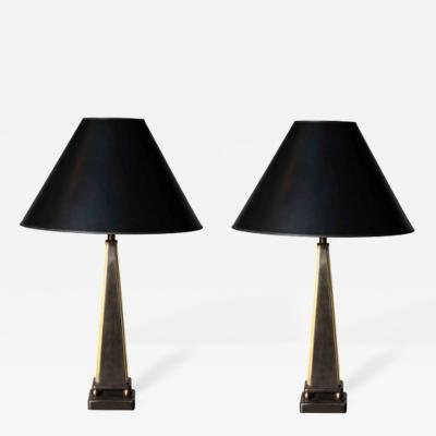 John McDevitt Pair of Pyramid Form Steel Table Lamps Gold Detail