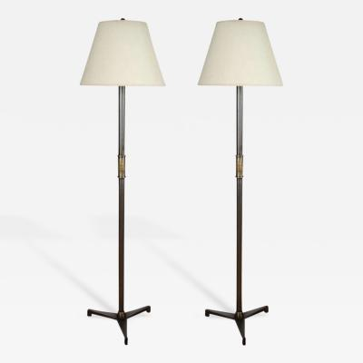 John McDevitt Pair of Steel Floor Lamps in Pewter Finish