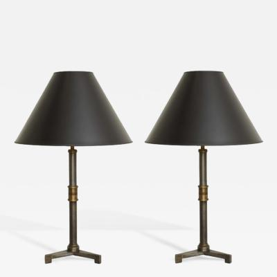 John McDevitt Pair of Steel Table Lamps with Tripod base in Pewter Finish