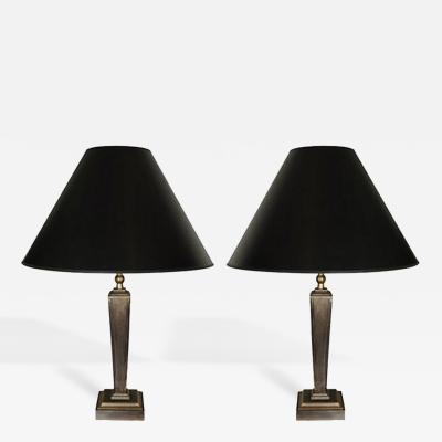 John McDevitt Pair of Steel Tapered Table Lamps with Square Base Shorter Size