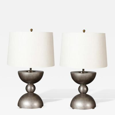 John McDevitt Small Pair of Sculptural Patinated Steel Geometric Form Lamps Pewter Finish
