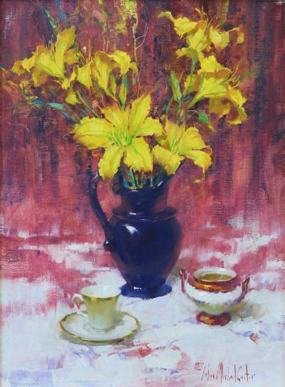 John Michael Carter Yellow Lilies in Blue Vase