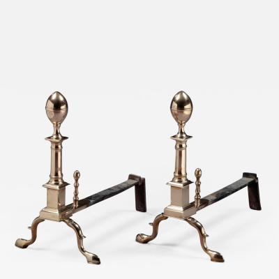 John Molineaux Pair of Bell Metal Andirons made by John Molineaux