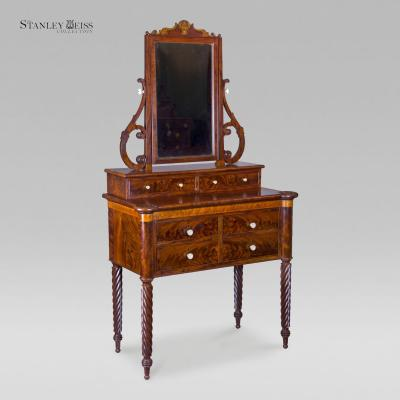 John Needles A Classical Mahogany and Birds Eye Maple Dressing Table with Mirror