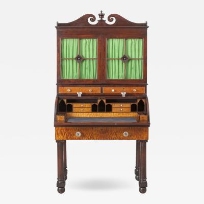John Needles Classical Cylinder Secretary and Bookcase with Gothic Interior