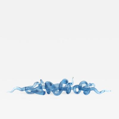 John Paul Robinson Surf Series H20 5 swirling striated blue glass sculpture by John Paul Robinson