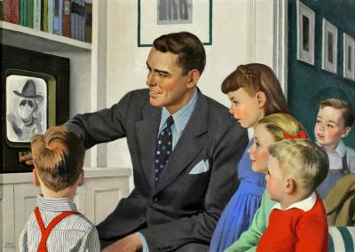 John Philip Falter Father and Children in Front of TV