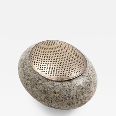 John Prip John Prip Sterling Silver and Granite River Stone Lidded Box