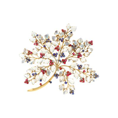 John Rubel French Mid 1940s to 1950s Moonstone Sapphire Ruby Diamond and Gold Floral Brooch