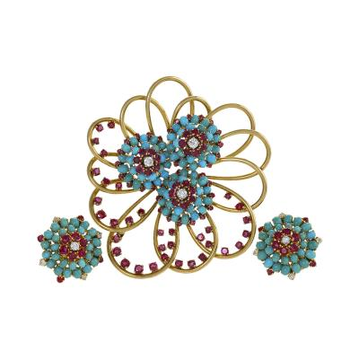 John Rubel John Rubel Ruby Diamond Turquoise Clip Brooch and Earrings Suit