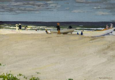 John Rutherford Boyd Cape May with Rowboats on the Beach