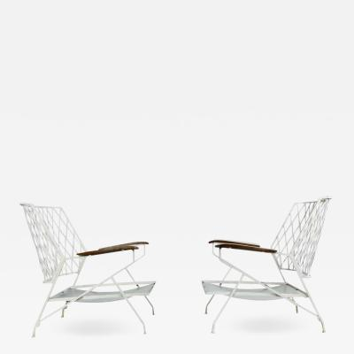 John Salterini 1950s Salterini Iron Lounge Chairs a Pair