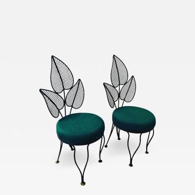 John Salterini Pair of John Salterini Leaf Back Wrought Iron Patio Garden Side Chairs