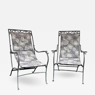 John Salterini Patinated Metal Lounge Chairs in the manner of Salterini