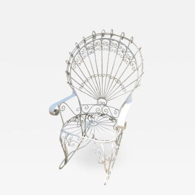 John Salterini Wonderful Salterini White Wrought Iron Peacock Back Rocking Chair