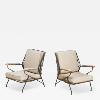 John Salterini Wrought Iron and Wood Lounge Chairs by Salterini