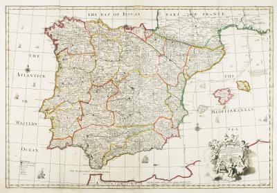 John Senex Uncommon two sheet map of Iberia