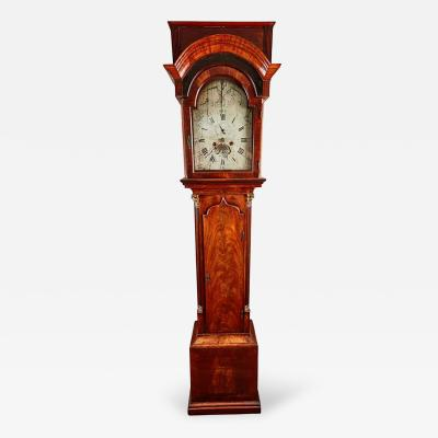 John Skinnier 18th Century Mahogany English Flat Top Grandfather Clock by John Skinnier