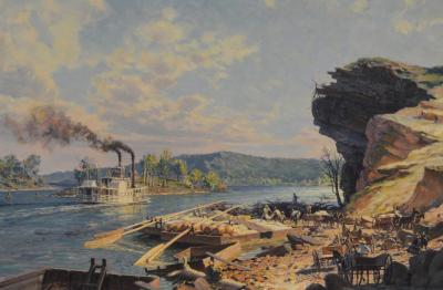 John Stobart Chattanooga Unloading Flatboats on the Tennessee River in 1848