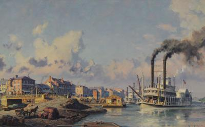 John Stobart Louisville The Peoples Line Packet Arriving at the Levee in 1868