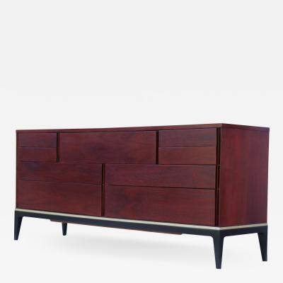 John Stuart 1960s Modernist 9 Drawer Walnut Dresser By John Stuart