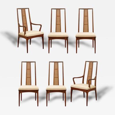 John Stuart   Elegant Set Of Six Walnut And Cane Dining Chairs By John  Stuart