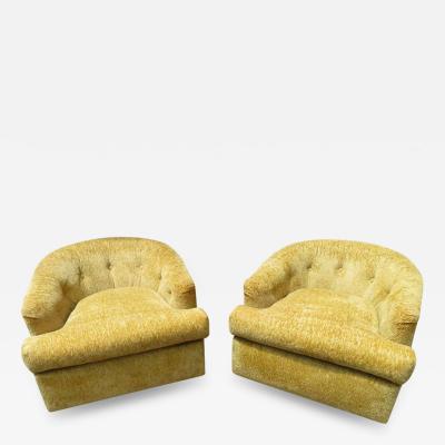 John Stuart Handsome Pair of John Stuart Swivel Barrel Back Lounge Chairs Mid Century Modern