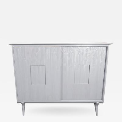 John Stuart Mid Century Modern Silver Cerused Oak Cabinet by John Stuart Inc