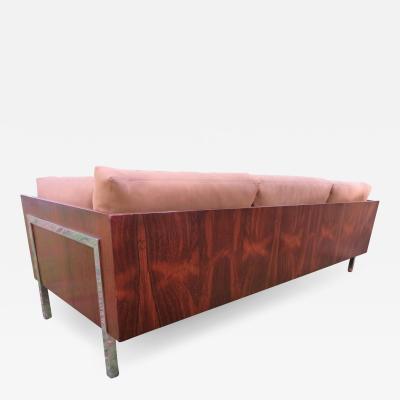 John Stuart Outrageous Milo Baughman Style Rosewood Chrome Case Sofa John Stuart