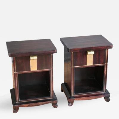 John Stuart Pair of Art Deco Mahogany Nightstands by John Stuart