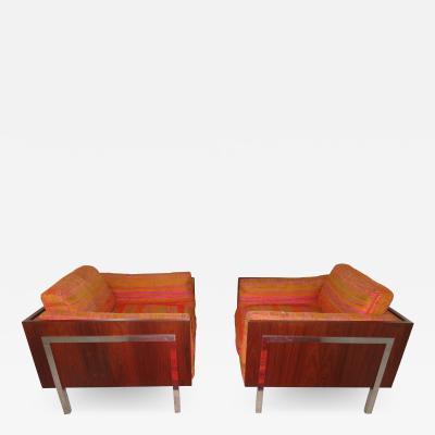 John Stuart Spectacular Pair Milo Baughman Style Rosewood Cube Lounge Chairs by John Stuart