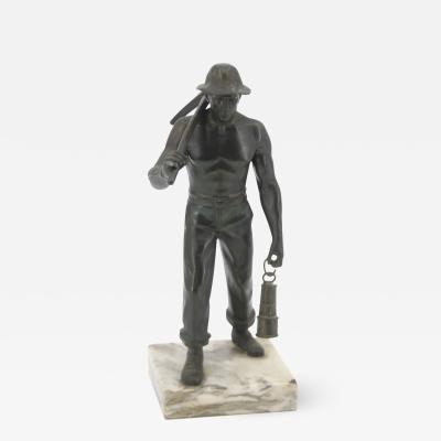 John Szaton John Szaton U S A Bronze sculpture of American coalminer Art Deco