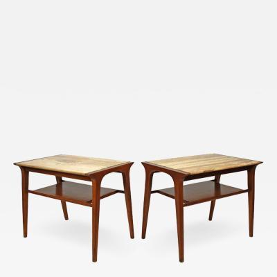 John Van Koert John Van Koert Walnut and Travertine Side Tables for Drexel