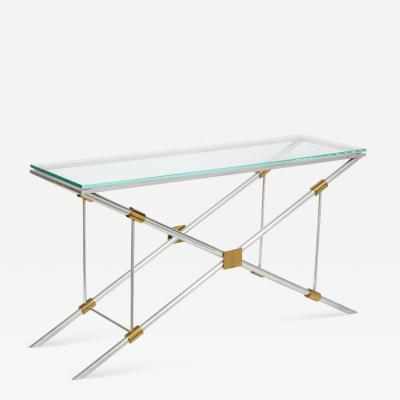 John Vesey Console Table Polished Aluminum with Brass Trim by John Vesey