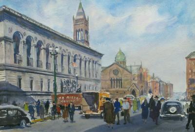 John Whorf Boston Public Library and Dartmouth Street Boston Massachusetts