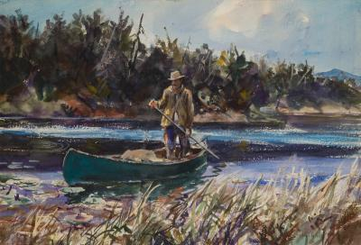 John Whorf Paddling Downstream