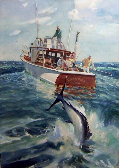 John Whorf Reeling in the Catch from the Champion Lynn