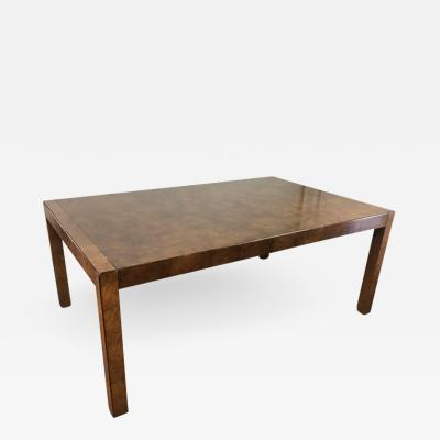 John Widdicomb Burl Wood Parsons Style Dining Table by Widdicomb