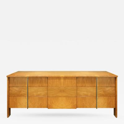 John Widdicomb John Widdicomb Chest of Drawers in Walnut with Rosewood and Chrome Pulls 1950s