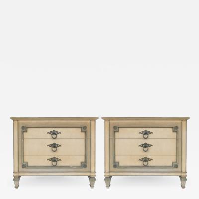 John Widdicomb John Widdicomb Hand Painted Night Tables with Drawers Pair