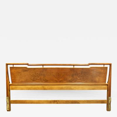 John Widdicomb John Widdicomb King Size Walnut and Brass Headboard 1950s