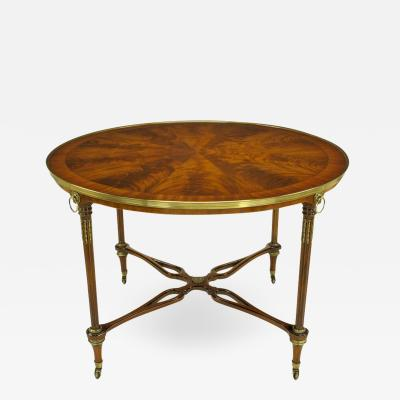 John Widdicomb John Widdicomb Regency Center Table with Crotch Mahogany Parquetry Top