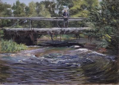 John Winthrop Andews Creek Landscape Oil Painting by John Winthrop Andrews