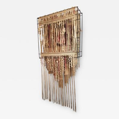 Jon B Wahling Jon B Wahling Fiber Wall Art Suspended from a Welded Steel Armature 1970s