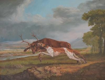Jonathan Adams Hound Coursing A Stag George Stubbs