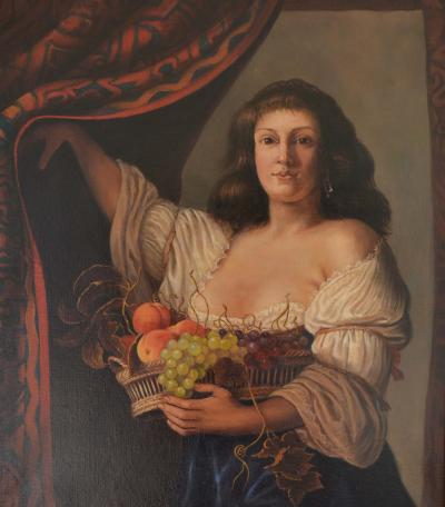 Jonathan Adams Woman with Basket and Fruit Couwenburgh