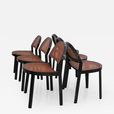 Jonathan De Pas Donato DUrbino Paolo Lomazzi Set of Six Black Wood and Caned Dining Chairs